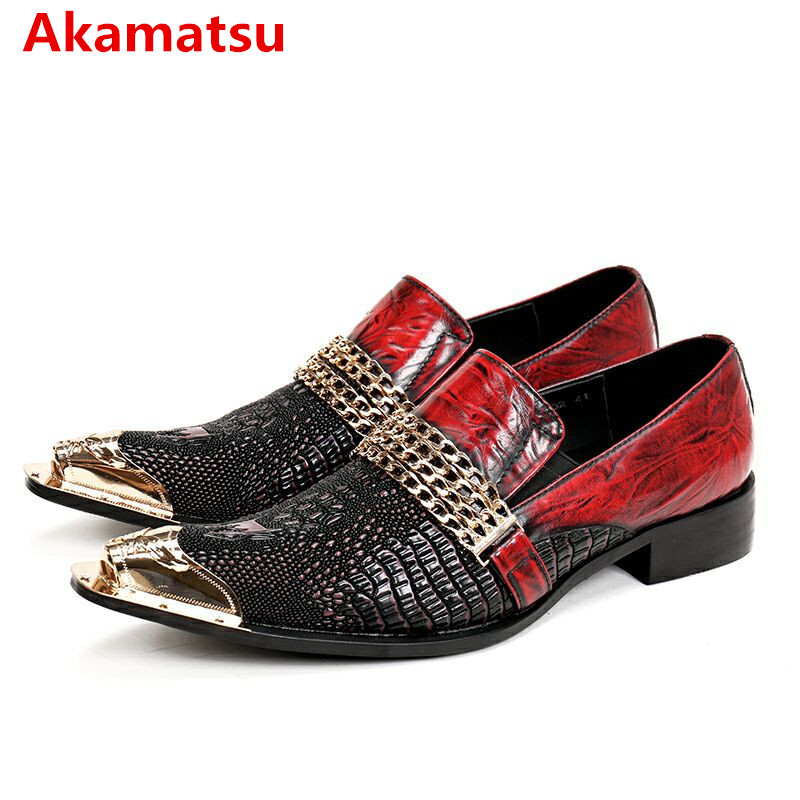 Akamatsu red black mens italian leather shoes wedding dress oxford shoes for men metallic chains zapatos hombre vestir size47 hot sale mens italian style flat shoes genuine leather handmade men casual flats top quality oxford shoes men leather shoes