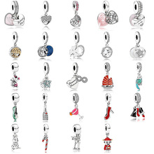 24 Style Silver Plated Pendant Love Shoes Sailboat Cocktail Pendant For Women Pandora Charms Bracelet
