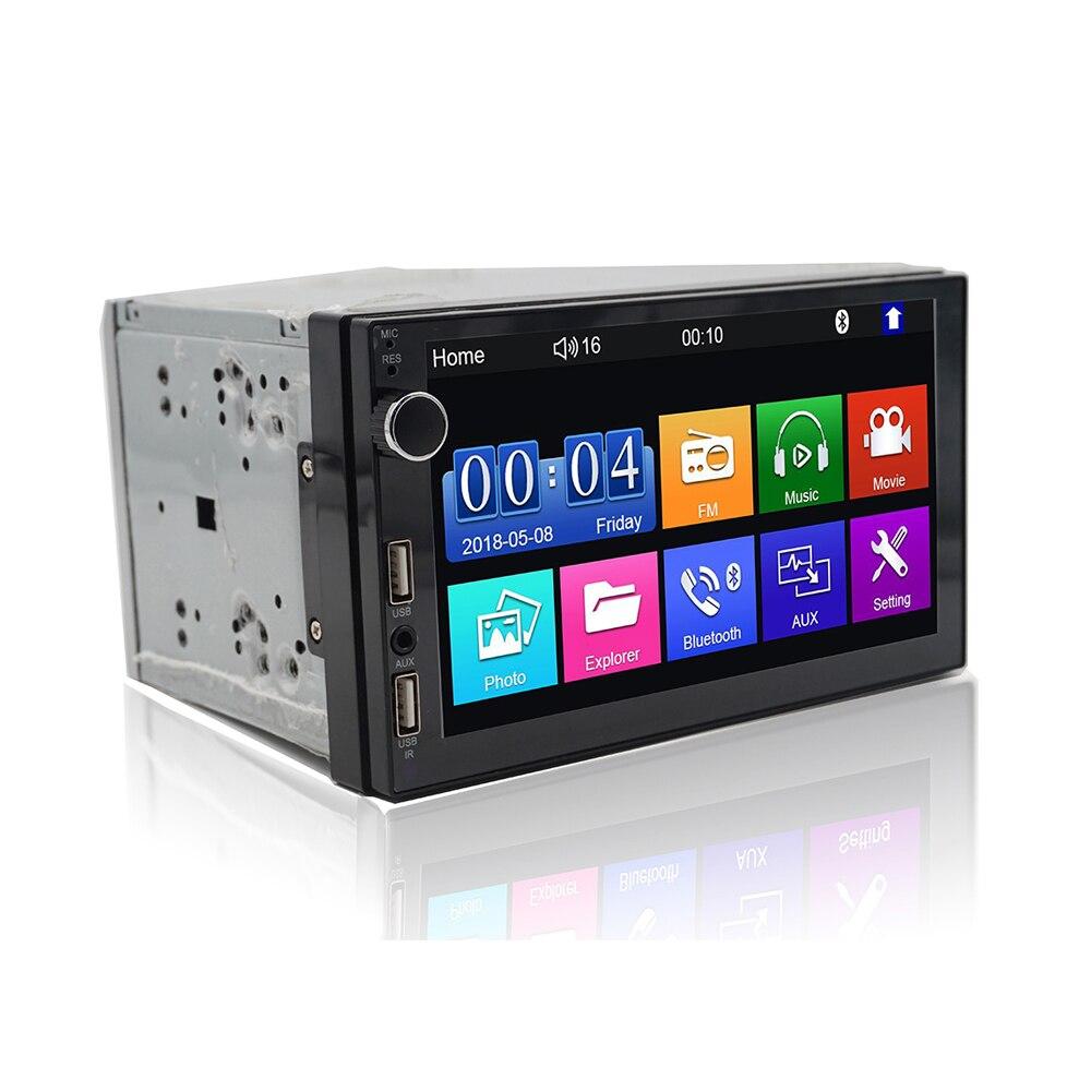 Deux USB port tactile clé pleine touche voiture stéréo Bluetooth Radio 7 pouces 2 DIN écran tactile mains libres Android téléphone miroir lien