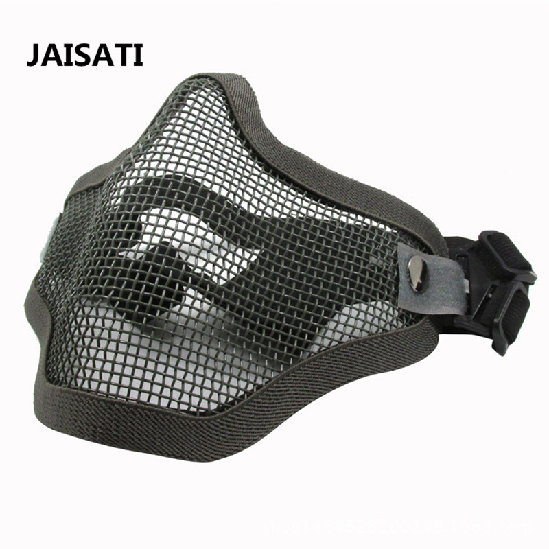 Iron mesh mask half face earmuff mesh breathable wire mask CS camouflage dust masks sparta 300 warrior paragraph wire mesh tactical mask wire mesh mask