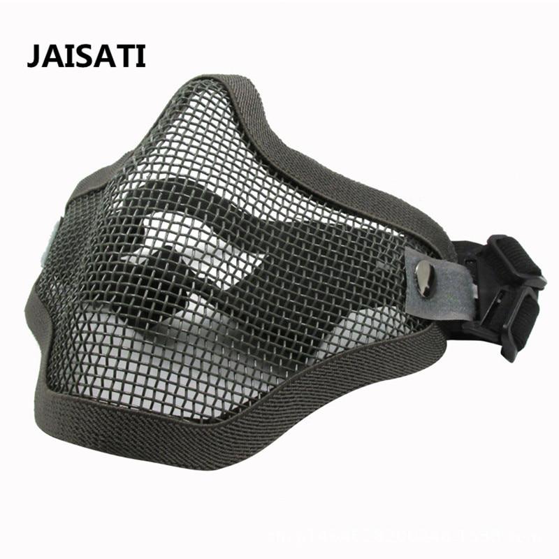 Iron mesh mask half face earmuff mesh breathable wire mask CS camouflage dust masks half face protector breathable elastic cotton mask black