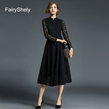 цена на 2019 Autumn Long Sleeves Temperament Black Plus Size Midi Dress Women Sexy Elegant Lace Club Celebrity Evening Party Dress 5XL