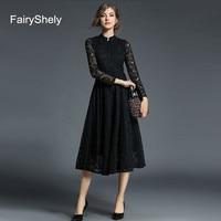 2019 Autumn Long Sleeves Temperament Black Plus Size Midi Dress Women Sexy Elegant Lace Club Celebrity Evening Party Dress 5XL