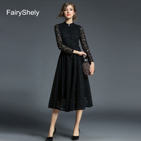 2019 Autumn Long Sleeves Temperament Black Plus Size Midi Dress Women Sexy Elegant Lace Club Celebrity Evening Party Dress 5XL