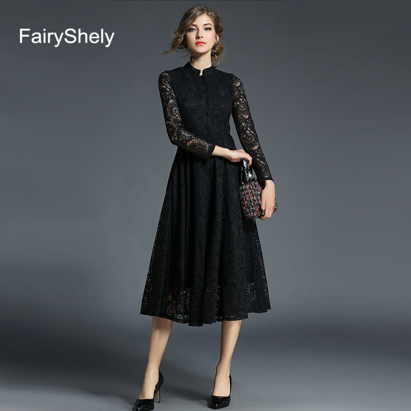 2019 Autumn Long Sleeves Temperament Black Plus Size Midi <font><b>Dress</b></font> Women <font><b>Sexy</b></font> Elegant Lace <font><b>Club</b></font> Celebrity Evening Party <font><b>Dress</b></font> <font><b>5XL</b></font> image