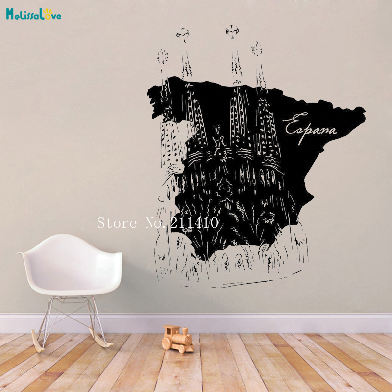 Map Of Spain Landmarks.Spain Map Wall Sticker Landmarks Rest Of The World Decals Home Decor