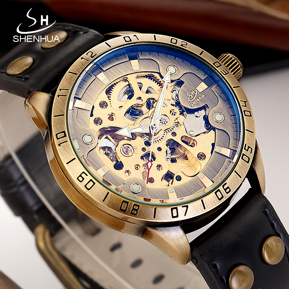 SHENHUA 2018 Luminous Hands Skeleton Watch Men Mechanical Automatic Transparent Watches Male WristWatch reloj automatico hombre