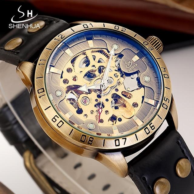 ec22d94d229 SHENHUA 2018 Mãos Luminosas Esqueleto Homens Relógio Mecânico Automático  Transparente Relógios Masculino Relógio de Pulso reloj