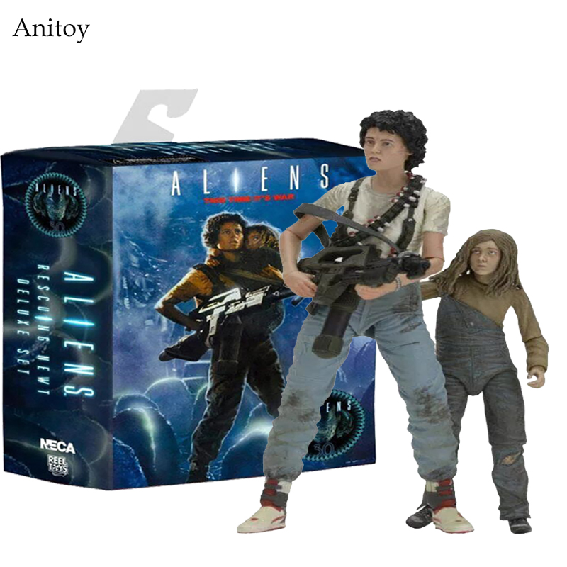 NECA 30th Anniversary Aliens Rescuing Newt Deluxe Set Vogue Ripley and Newt 18cm KT3346 natives and aliens