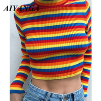 Spring Rainbow Women Sweaters and Pullovers Autumn Striped Knitted Cropped Tops 2019 Fashion Girls Sexy Hot jumper pull New