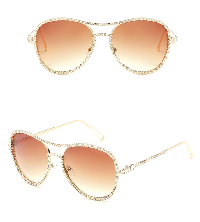 df9532f21d Pop Age New Ocean Pink Round Diamond Sunglasses Women Metal Frames ...