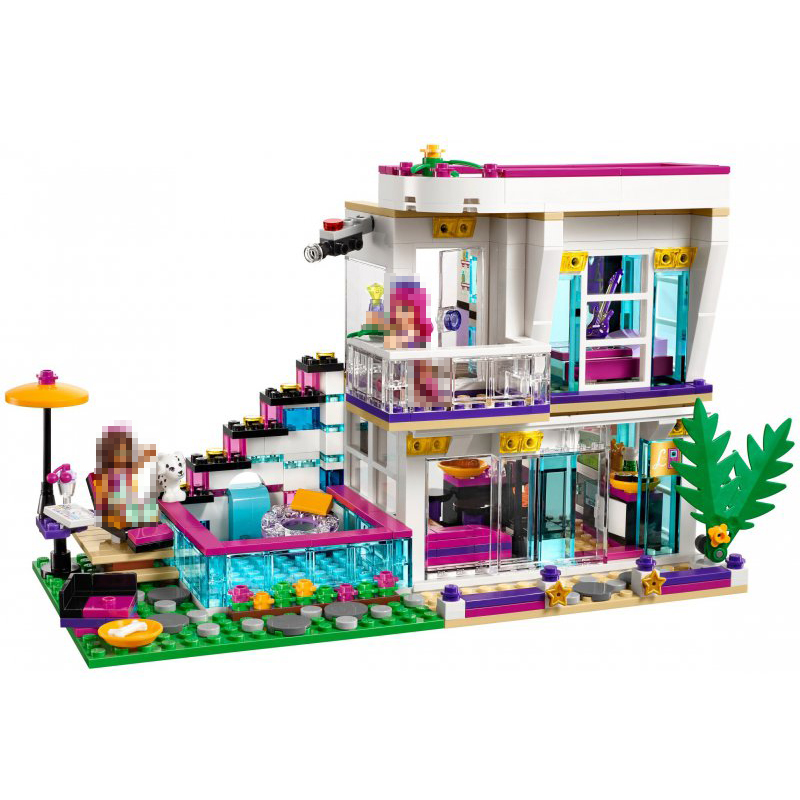 <font><b>10498</b></font> Livi's Pop Star House Building Blocks 41135 Friends Bricks Emma Mia Figure Model Toys Birthday Gift image