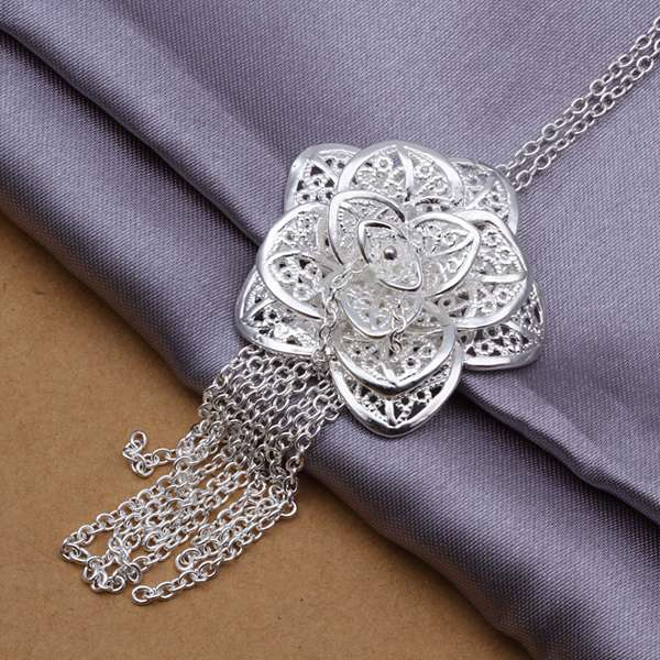 Free Shipping 925 jewelry silver plated Jewelry Pendant Fine Fashion Cute Rose Flower Necklace Pendants Top Quality CP318