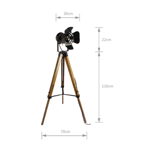 Image 4 - Led wood floor lamp Tripod American Loft Adjustable Bedside Floor lights stand lamp with lampshade home lighting for living room