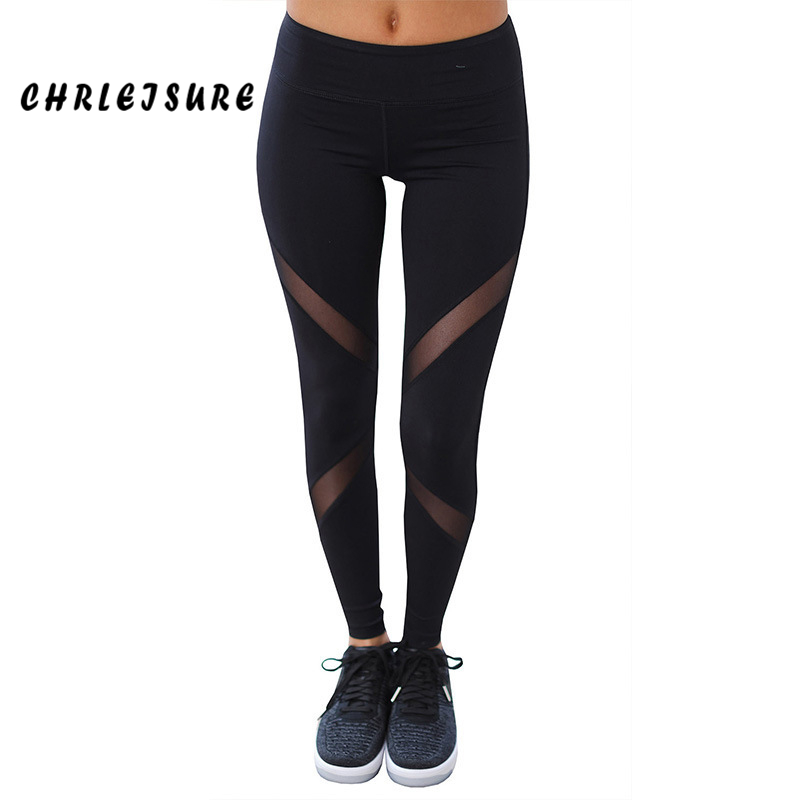 CHRLEISURE Sexy Women Leggings Gothic Insert Mesh Design Pants Pants Big Size Black Capris Sportswear New Fitness Leggings