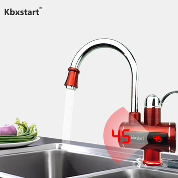 3000W Instant Hot Water Tap Tankless Electric Faucet Kitchen Led Display Heater With Resettable Temperature Protection Button