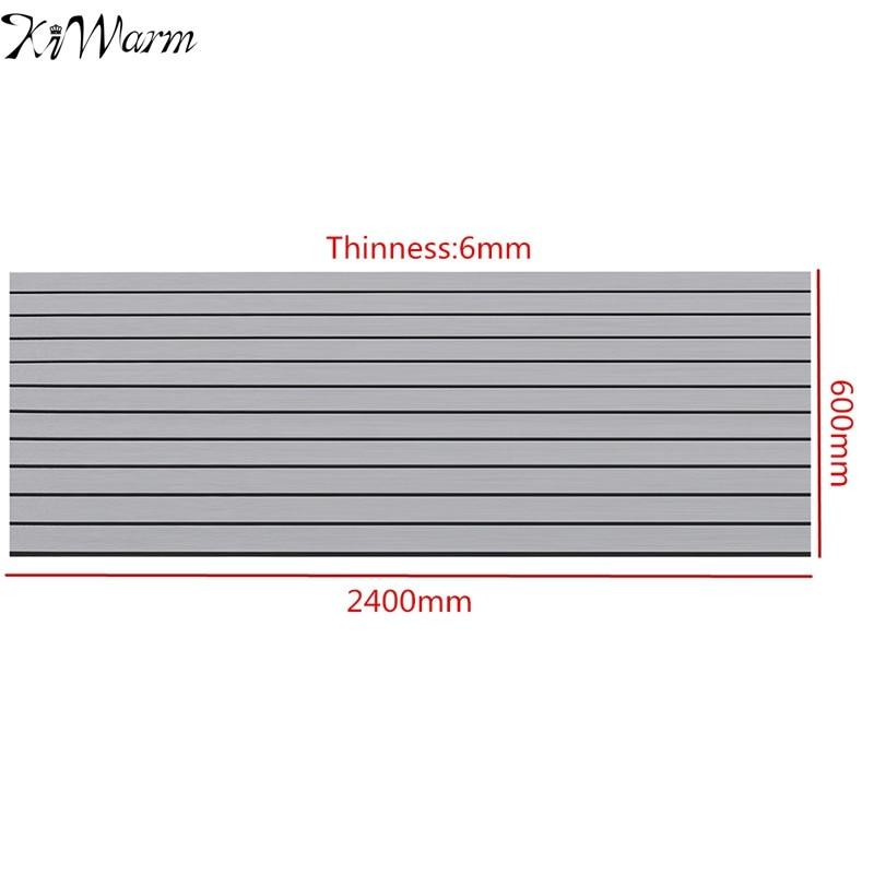 KiWarm Fashionable 2400X600x6mm Light Gray Marine Flooring Faux Teak EVA Foam Boat Decking Sheet Foam <font><b>Floor</b></font> Mat DIY Art Decor