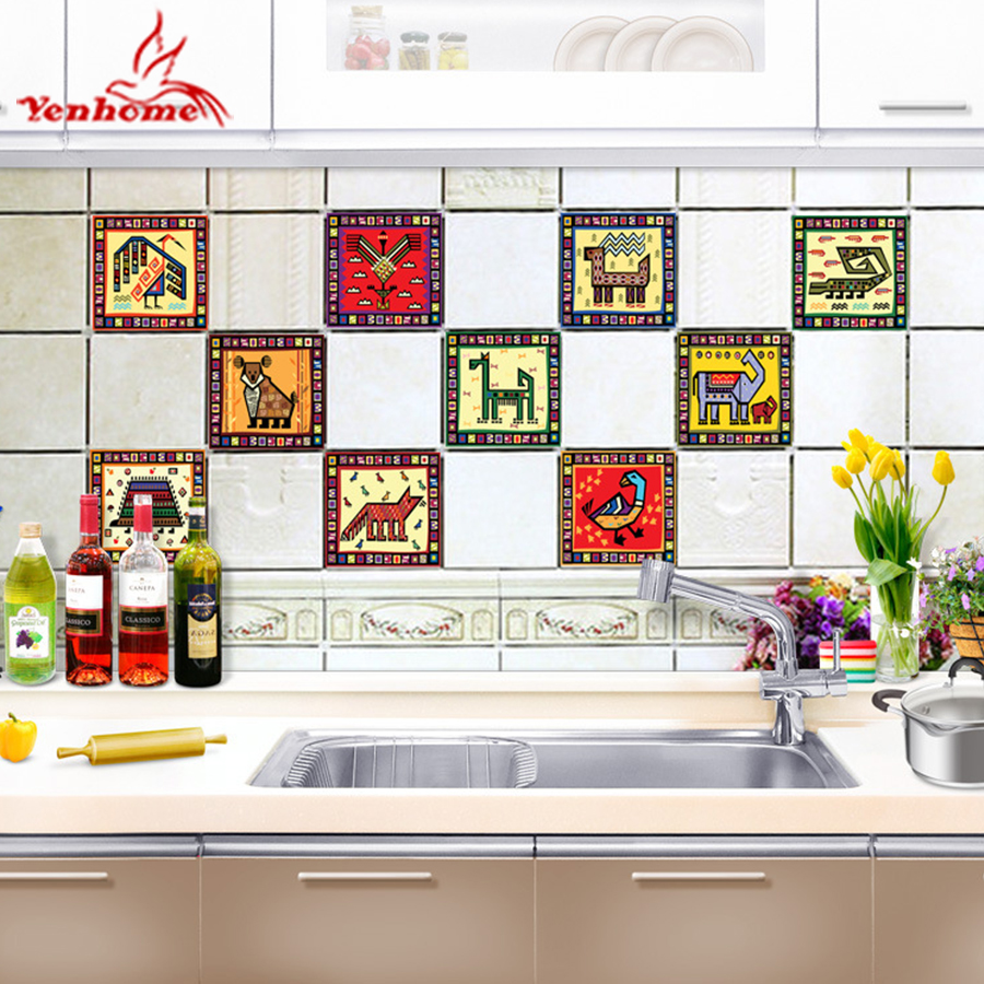 US $11.98 30% OFF|10pcs/set Kitchen Backsplash Self Adhesive Tile Stickers  Cartoon Art Wall Decals DIY Kitchen Bathroom Wall Sticker Home Decor-in ...