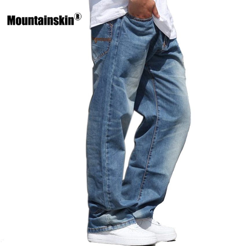 Mountainskin Fashion Men's   Jeans   Streetwear Retro Denim   Jeans   Men's Pants Hiphop Old   Jeans   Male Casual Loose Plus Size JA463