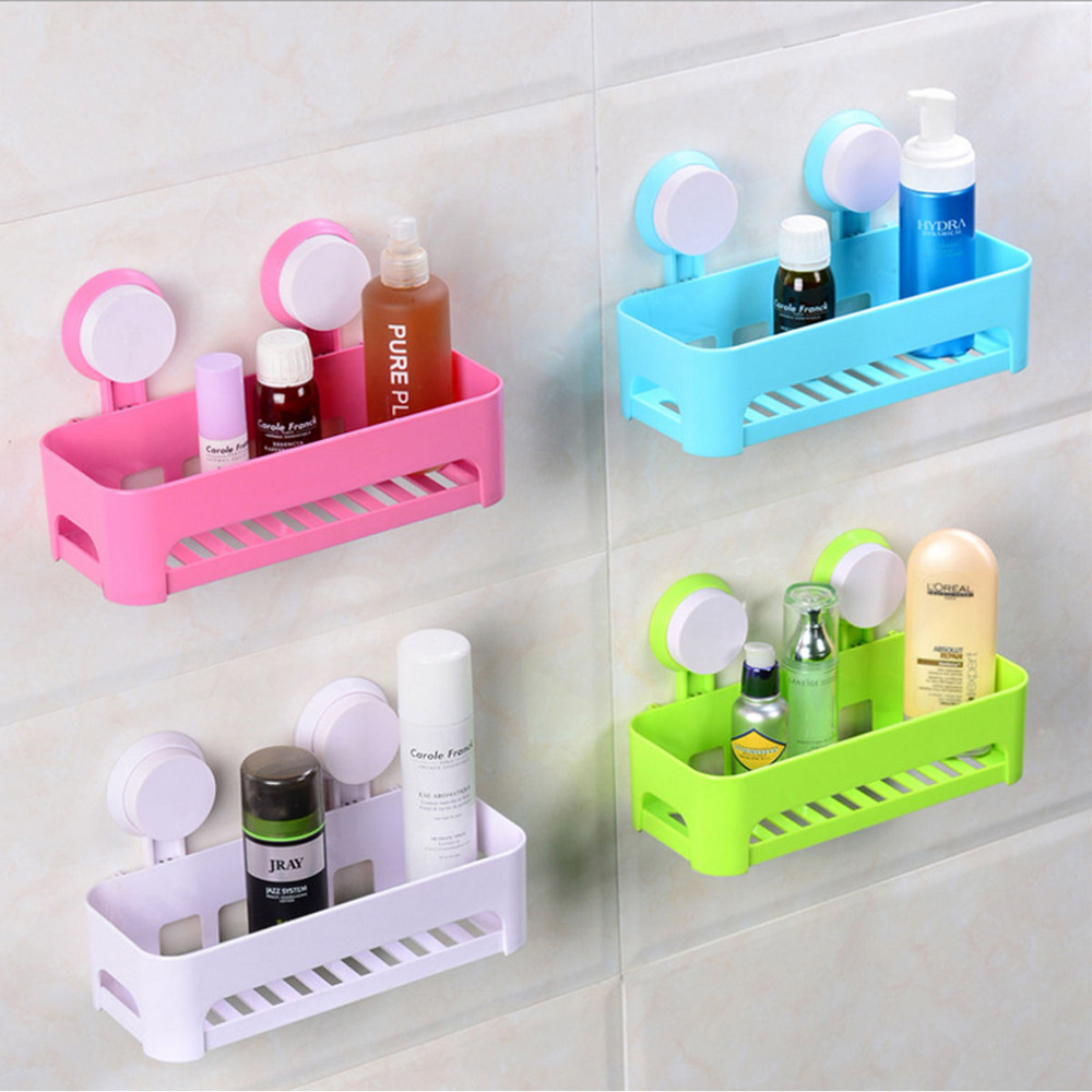 Plastic removable bath shelf wall mounted cosmetic holder storage - Aliexpress Com Buy 4 Colors Plastic Wall Sucker Organizer Net Box Kitchen Sink Cooking Bathroom Shelf Storage Rack Hanging Holder From Reliable Shelf Life