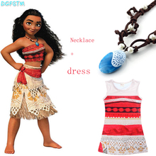 Princess Moana Cosplay Dress for Children Moana Costume with Necklace Halloween font b Christmas b font