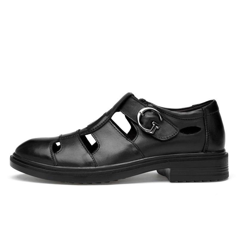 Men Dress Leather Sandals Big Size Business Shoes For Men Summer Sandals Hook & Loop Breathable Mature Footwear Low Heeled Shoes