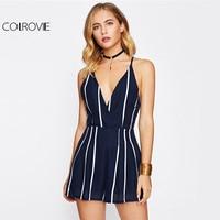 COLROVIE Stripe Elegant Wrap Romper Sexy Criss Cross Back Women Summer Cami Playsuit 2017 New Navy
