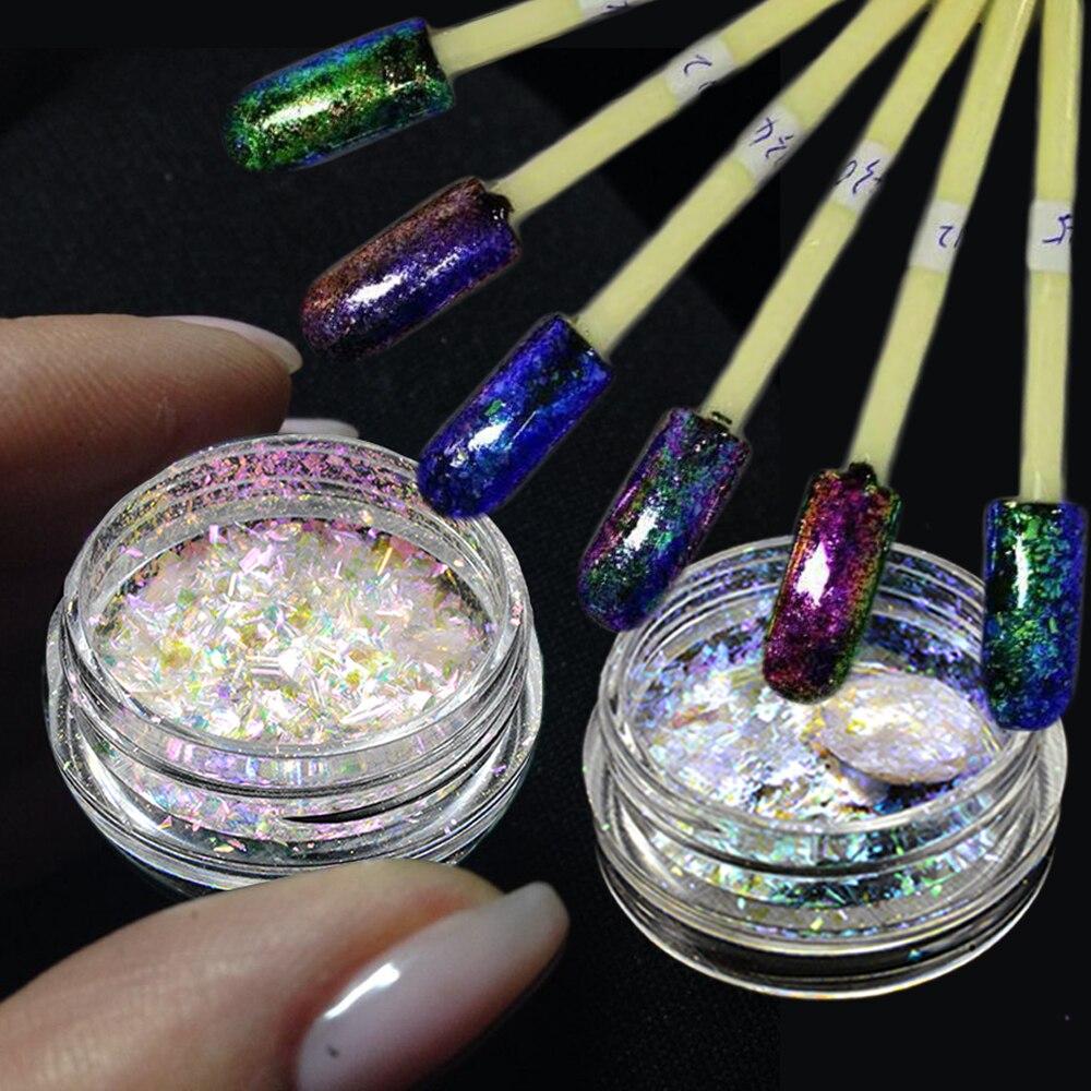 1 Box Chameleon Flakes Shimmer Galaxy Nail Glitter Dust: 1 Box Chameleon Colorful Nail Glitter Powder Shining Nail