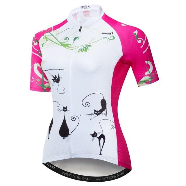 Cycling Jersey Women Downhill Jersey Ropa Ciclismo Summer Short Sleeve  Mountain Bike Clothing Wear Top Pink White Cat 87b0aea55