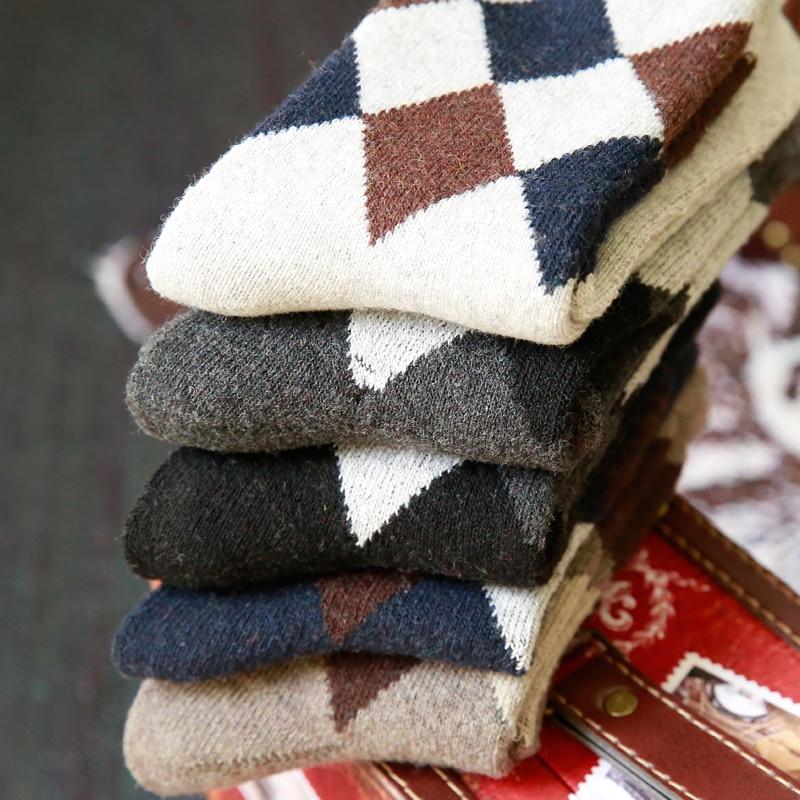 Winter Men's wool socks  casual socks  thick warm  diamond pattern design 5 pair free shipping