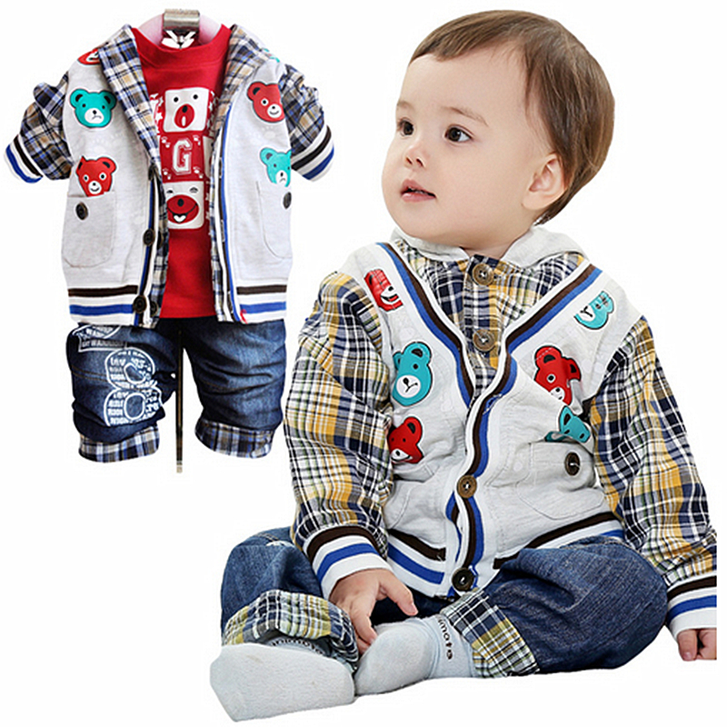 Anlencool 2017 Free shipping Activities clearance price spring and Autumn Europe youngster boy cowboy suit brand baby clothing kimocat boy and girl high quality spring autumn children s cowboy suit version of the big boy cherry embroidery jeans two suits