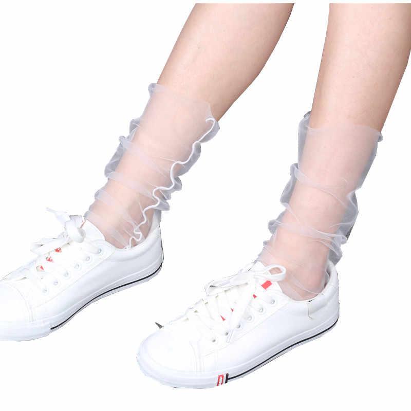 bc4660c26 ... 55cm Fashion Ultrathin Transparent Net Mesh Socks Women Nylon Summer  Sox Sexy Female Ladies Black Sheer ...