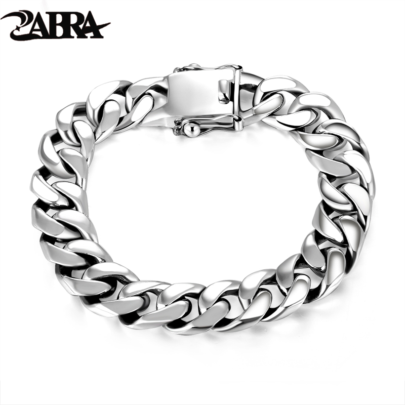 ZABRA Luxury 925 Sterling Silver Armband Man High Polish Curb Link Chain Armband för män Vintage Punk Rock Biker Mens Smycken