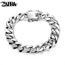 ZABRA Luxury 925 Sterling Silver Bracelets Man High Polish Curb Link Chain Bracelet for Men Vintage Punk Rock Biker Mens Jewelry