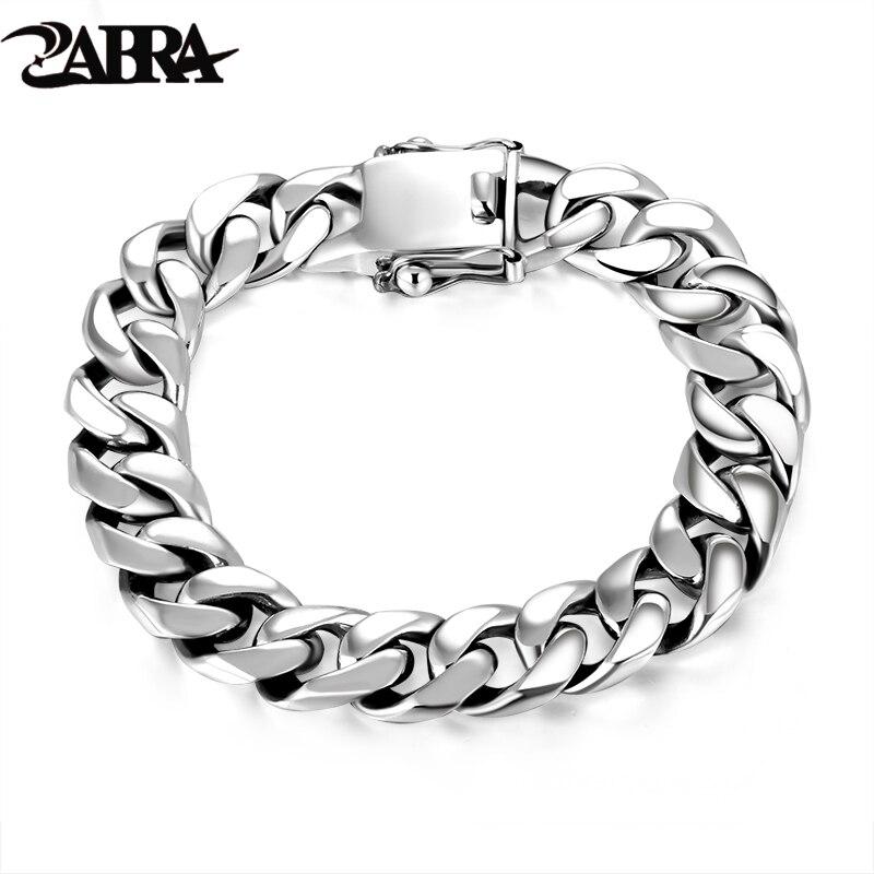 ZABRA Luxus 925 Sterling Silber Armbänder Mann Hochglanz Curb Gliederkette Armband für Männer Vintage Punk Rock Biker Herren schmuck-in Kette & Link Armbänder aus Schmuck und Accessoires bei  Gruppe 1