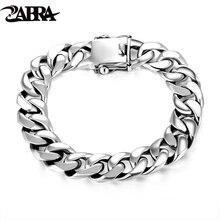 ZABRA Luxus 925 Sterling Silber Armbänder Mann Hochglanz Curb Gliederkette Armband für Männer Vintage Punk Rock Biker Herren schmuck