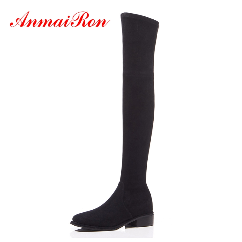 AnmaiRo Square Toe  Slip-On  Over-the-Knee  Slip-On  botas mujer   zapatos de mujer  thigh high boots  Size 34-39 ZYL1454AnmaiRo Square Toe  Slip-On  Over-the-Knee  Slip-On  botas mujer   zapatos de mujer  thigh high boots  Size 34-39 ZYL1454