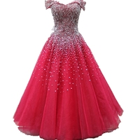 Quinceanera Dresses Ball Gown Red Real Photos Sparkly Crystals Beading Tulle Puffy Birthday Party Gown Sweet 16 Dresses