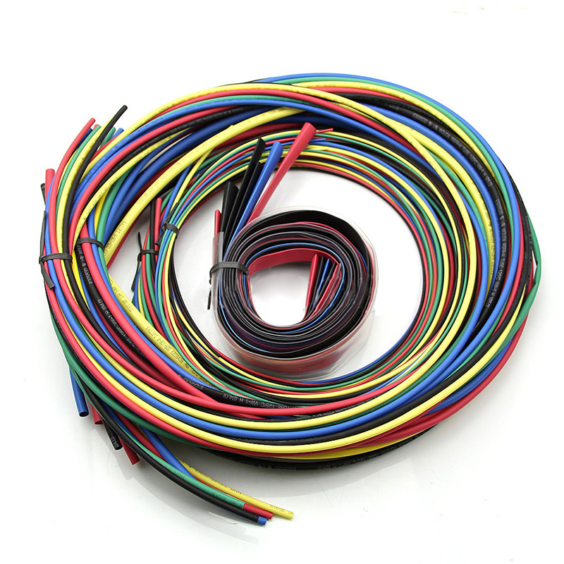 55M Set New Assorted Heat Shrink Tubing Cable Wrap Tube Sleeving Pack 11Sizes 6 Colors 55m pack insulation polyolefin ratio 2 1 heat shrink tubing 11 sizes 6 colour shrinkable tube sleeving set