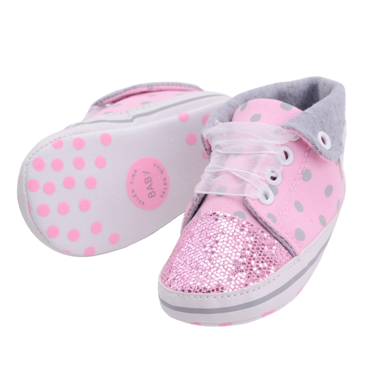 Infant Newborn Baby Girls Boy Glitter Polka Dots Autumn Lace-Up First Walkers Sneakers Shoes Adorable RibbonToddler Canvas Shoes 15