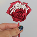 2016 Stunning Wine Red Satin Diamond Wedding Corsages Boutonniere Groom Boutonniere wedding Flowers Boutonniere Brooch Flower
