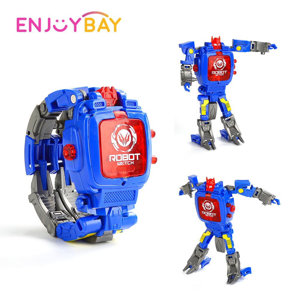 Enjoybay Kids Deformation Robot Wristwatch Toy w/ Projection Cartoon Transformation Electronic Watch Christmas Gift for Children
