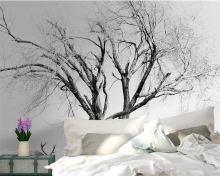 Beibehang Custom Wallpaper Living Room Bedroom Background 3d modern Abstract Black and White Trees Photo wallpaper