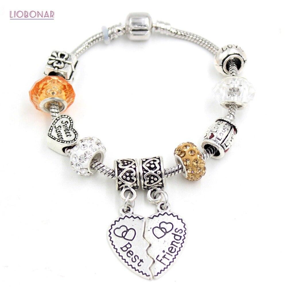 New Arrival Best Friend Charms Bracelet European Style Sweet Sister Bead  Bracelet For Best Friends Gift