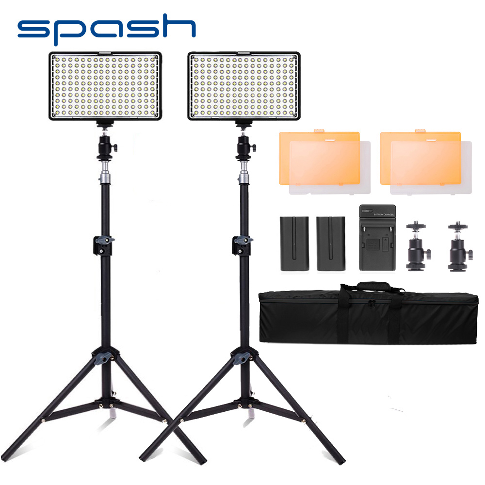 spash TL-160S 2 Sets LED Video Light 3200K/5600K CRI85 Photography Lighting Studio Photo Lamp Panel LED Lights for Video Shoot spash tl 240s 1 set led video light with tripod stand cri 93 3200k 5600k studio photo lamp led light panel photographic lighting
