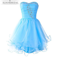 Real Photos Sky Blue Cocktail Dress 2017 Cheap Girls Short Prom Dress Sweetheart Homecoming Party Gowns Free Shipping