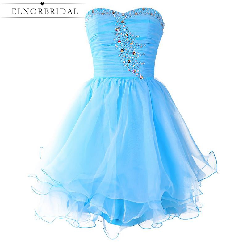 Real Photos Sky Blue   Cocktail     Dress   2019 Cheap Girls Short Prom   Dress   Sweetheart Homecoming Party Gowns Free Shipping