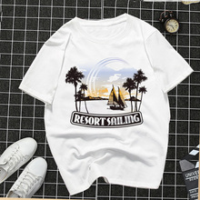 Female T-shirt Hawaiian holiday Letters Printed Short Sleeve Round Neck Cotton Tee Woman Oversized T Shirt Harajuku Top Kawaii