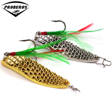 1pc Spoon Lure 20g-15g-10g-5g Metal Fishing Bait Silver/Gold Spoon Bass Baits Feather Hook Fishing Tackle