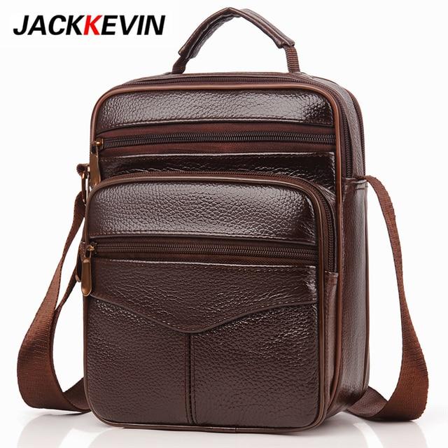 1d79e6691321 JackKevin Cow Genuine Leather Men s Messenger Bags Casual Business Leather  Shoulder Bag Men Crossbody Bag Bolsa Masculin